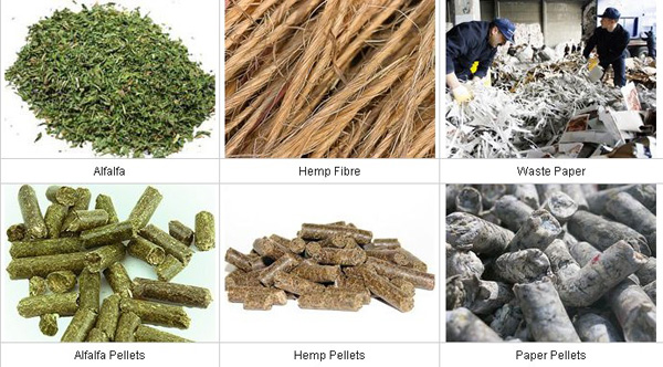 various materials and pellets